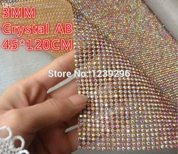 Wholesale SS10 mm x120cm Crystal AB Stones Hotfix Rhinestone Mesh Trimming Aluminium base Hotfix Pasted Sew on Net Drill