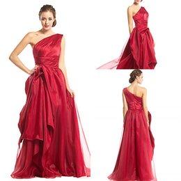 Wholesale One Shoulder Burduny Floor Length Oragnza Dresses Evening Wear Party Gown Zipper Sleeveless Ruffles harming vestidos De Fiesta Formal WWL