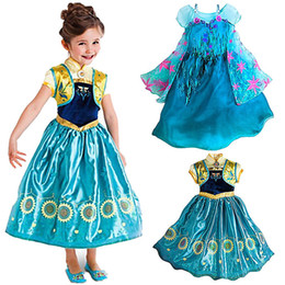 Factory Prices Frozen dresses Frozen Fever Girl Elsa Anna Dresses Kids Summer Gauze Clothing Princess Short Sleeve Kids Party dress