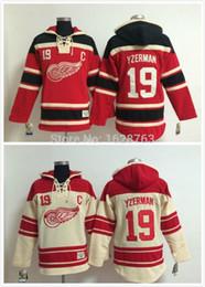 30 Teams-Wholesale Free Shipp. Detroit Red wings Hoody 19 Steve Yzerman Ice Hockey Hoodies  Hooded Sweatshirt