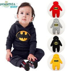 Wholesale Baby girls boys Autumn Winter Baby Cotton Romper Cartoon Batman Thick Jumpsuit Kid Clothing Baby Hooded Romper Free Shopping