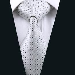 Mens White Black Plaid Tie Jacquard Woven Silk Tie Business Party Formal Meeting 8.5cm Width Necktie D-0431