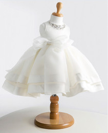 Lovely Vintage Jewel Beaded Waist Bow Organza Baby Girl Tea-length Princess Dresses Children Girl Party Dresses Flower Girl Dresses