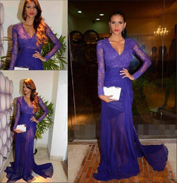 Elegant 2015 Purple Lace Long Sleeves Evening Dresses V-neck Sheath Chiffon Sheer Court Train Prom Gowns