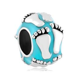 Metal Rhdoium Plated Color enamel Baby foot print European Charm Beads For Pandora Charms DIY Bracelet
