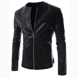 FG1509 New fashion mens simple solid color pu leather jacket cardigan zipper coats jackets menswear motorcycle jacket streetwear jacket