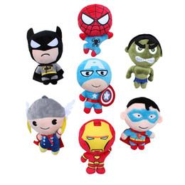 Superhéroes juguetes de peluche en Línea-lot felpa Super Heroes vengadores Peluches Capitán América Iron Man Batman Spiderman Thro Batman Superman muñeca de la felpa juguetes de peluche en stock