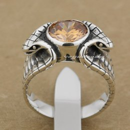 Orange CZ Stone 925 Sterling Silver Cobra Fashion Ring 9K011 US Size 8~14 Free Shipping