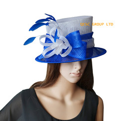 Royal blue white Small Sinamay Hat Ladies Hat Church Hat Kentucky Derby.