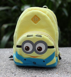 Wholesale 2016 New products baby Bags cute Minions cartoon modelling children shoulders Backpacks plush kids coin purse cm ab2091