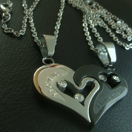 "Set STUNNING COUPLES""I LOVE YOU""STAINLESS STEEL NECKLACE n164"