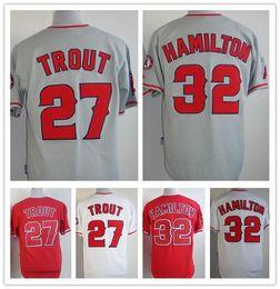Wholesale 2016 New Los Angeles Angels Mike Trout Josh Hamilton Jersey Baseball Stitched Logos Cool Base Jersey Big Size XL