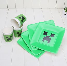 Wholesale Minecraft Paper Plates Dishes Creeper Green Paper Cups Disposable Cups Plate Christmas Decoration Birthday Party Supplies Dinnerware Set