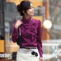 korean style fashion women work wear long puff sleeve stand collar ruffle faux silk blouse designs shirt camisas chemise femme