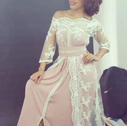 Wholesale Oriental Kaftan Moroccan Caftan Lace Chiffon Off shoulder Prom Dresses with Sleeves Custom Make Arabic Occasion Gown
