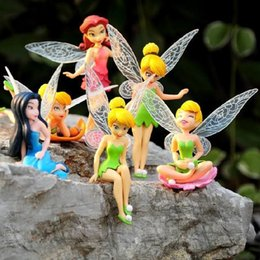 Wholesale 2015 New year s children gift Tinkerbell dolls flying Fairy Adorable tinker bell Mini toy flower pretty doll Figures set