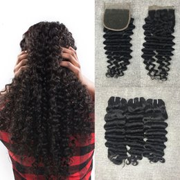 Grade 8A 4*4 Top Lace Closure With Brazilian Hair Bundles Virgin Human Hair Weave 3pcs 300g Unprocessed Peruvian Remy Human Hair Extensions