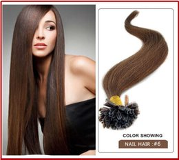 "wholesale -200s pack 1g s 14''- 24"" Keratin Stick u Tip Human Hair Extensions Peruvian hair 6# light brown dhl Fast shipping"