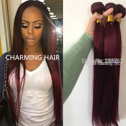Cheap Unprocessed Virgin Human Hair 99J Red Hair Bundles 3pcs Burgundy Brazilian Hair Straight Red Burgundy Human Hair Weave 99j
