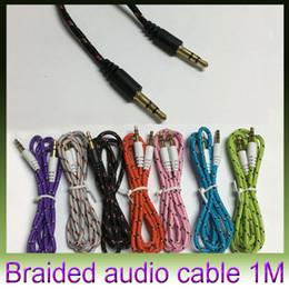 Compra Online Armadura usada-Car Weave Audio cable de conexión Cable de buena calidad colordul aux cable cable de audio auxiliar de 3,5 mm uso general para samsung iPhone MP3