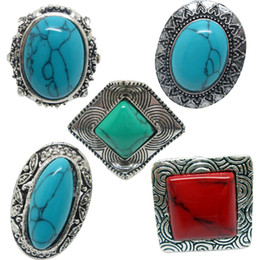 Turquoise Stone Rings 12Pcs Women's Rings Four Kinds Of Gemstone Antique Silver Rings With Two Color Men Vintage Resin Turquoise Stone