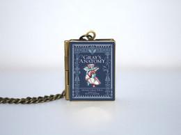 Wholesale 12pcs Classic Novels Gray s Anatomy Book Locket Necklace Bronze tone book jewelry