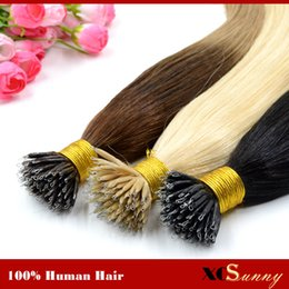 "XCSUNNY 18""20"" Nano Bead Hair Extension Human Hair Tape Extensions Ombre 1g s 100g 100beads Stock 100% Indian Remy Human Hair"