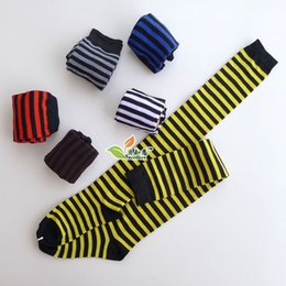 Wholesale-10pairs lot over knee length socks for girls striped cotton women dress socks leg warmer free shipping