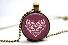 Wholesale 10pcs PAW HEART Dog Jewelry Dog Necklace I love dogs Glass Photo Cabochon Necklace