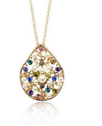 chaming diamond inlay pearl srop pendant lady's necklace (xysppfh)