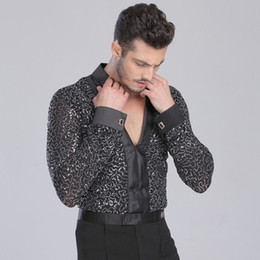 Wholesale Men Latin Shirt Adult Latin Dance Tops Clothing For Dance Deep V Neck Man Long Sleeve Dance Dress Waltz Tanto Rumba Dancewear DQ6008