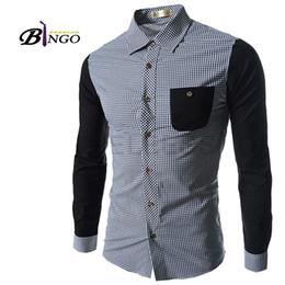 Wholesale Bingo M XXL European amp American Plaid shirt men s casual hit the color simple atmospheric male shirt
