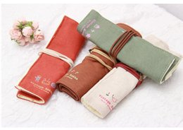 Wholesale-Suprise!!! Hot Sale Roll Up Curly Stationery Pencil Pouch Canvas Wrap Pen Brushes Makeup Pencil Case