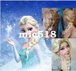 free by dhl or fedex Frozen wigs most popular cartoon girl Hair Wigs child Cosplay Wig Elsa princess white fluffy long hair