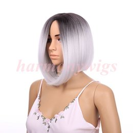 Lace Front Wig Ombre Black&Gray 12inch Straight Short Bob Futrua Heat Resistant Synthetic Hair wigs hair extenions