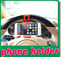 Wholesale Car Steering Wheel Phone Socket Holder Mount Rubber Band SMART Cradle Streeling Clip Car Bike For iPhone Plus S6 Note GPS