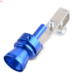 Wholesale Blue Silver Fake Turbo Sound Whistle Muffler Exhaust Pipe Blow off BOV Simulator Aluminum Turbo Exhaust Pipe Whistler Size M Hot SV004782