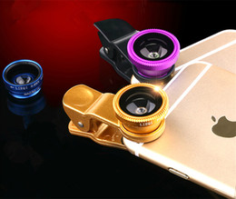 Wholesale Universal Clip in Fisheye fish eye Lens Wide Angle Macro Mobile Phone Lens photo Kit Set for cell phone