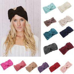 Knitted Women Headbands Kids Fashion Handmade big Bow Hair Accessories Wool Crochet Headband E275