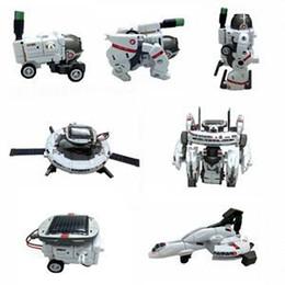 2014 New Fashion White DIY Solar Rechargeable Space Fleet Kit 1Set 7-in-1 Solar Robot Kit For Kids Children