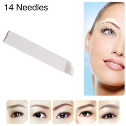 Wholesale-100pcs lot Chuse S14 Permanent Makeup Blade Manual Eyebrow Tattoo Bevel Blades 14 Needles Single Packaged Free Shipping