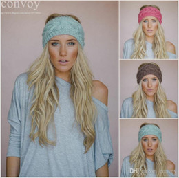Wholesale Fashion Womens Adult Lady Crochet Winter Autumn Knit Headbands Warm Hoop Wide Plait Headbands ear warmer Wool Stretch Hair Bands WHA01