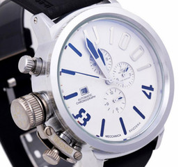 Wholesale Classic Big Face U1001 U Calendar Luxury Male Silver Watch Stainless Rubber Mens Mechanical Automatic Wristwatches For Men Man Gift Box