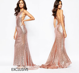 Wholesale Rose Gold Sequined Criss cross Bridesmaid Dresses Long Floor Ruffles Skirt Train Affordable Evening Dresses Simple Elegant Formal Dresses