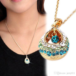 Wholesale Fashion x Charm Multi Colored Crystal Rhinestone Teardrop Shape Pendant Necklace Jewelry For Women NL BL