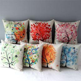 Wholesale 18 quot Square Pastoral Life Tree Beautiful Cotton Linen Cushion Cover Sofa Decorative Throw Pillow Chair Car Home Decor Pillow Case almofadas