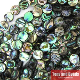 Wholesale one quot Strand New Zealand Peacock Blue Abalone Shell Loose Coin Beads MM Pick Size For