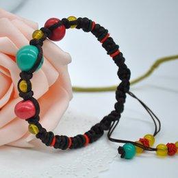 Vintage Retro Turquoise Braided Hand Chain Charm Bracelets for Women Pendant Bracelet Y60*SS1038#M5
