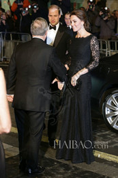 2019 Kate Middleton Jenny Packham Dress Black Lace Long Sleeve Evening Prom Dress Celebrity Red Carpet Dresses Floor Length Sheath Gowns