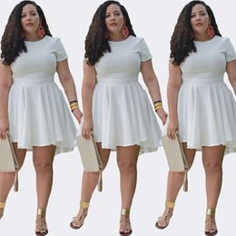 Wholesale Plus Size Dress Womens Fashion Short Sleeve Chiffon Skater Dress Slim Empire Waist White Cocktail Party Dress MKE1117